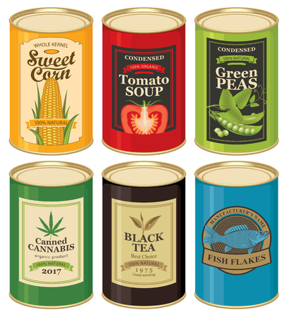 vegetable tin: Set of vector illustrations of a tin cans with labels of sweet corn, tomato soup, and more.