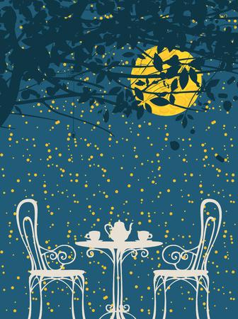 Vector nacht landschap in retro stijl met meubilair van straat café, twee kopjes en theepot op de achtergrond van nacht sterrenhemel met de grote maan