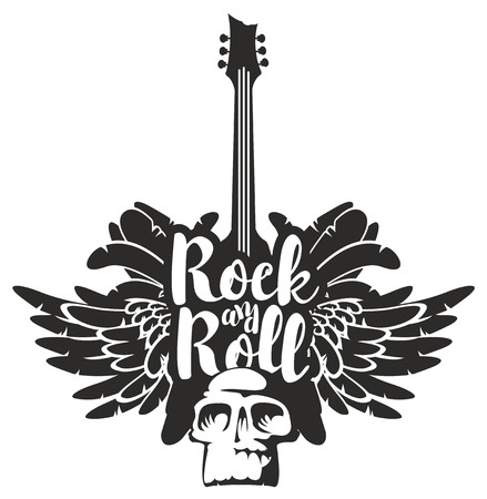 Vector black and white illustration with an electric guitar, wings, feathers and human skull with inscription rock and roll