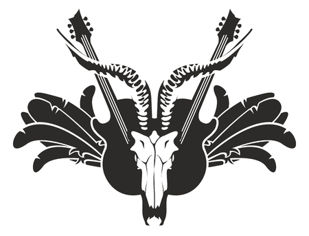 Vector black and white illustration with electric guitars and skull of goat, wings and feathers Illustration