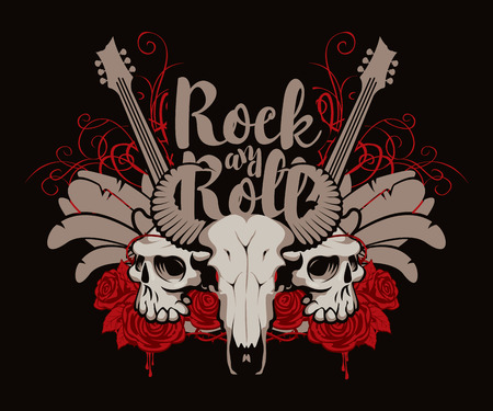 Vector illustration with skulls of a horned animal and human, electric guitar, feathers, red roses, drips of blood and inscription rock and roll.