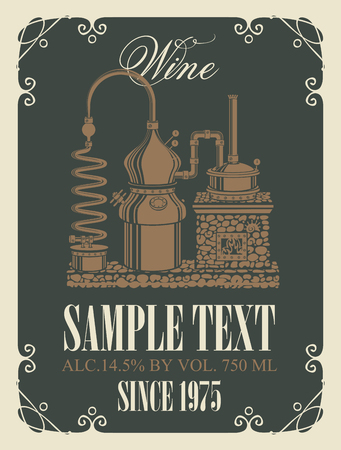 Vector wine label with a picture of the old wine production in curly frame in retro style