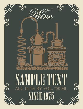 Wektor etykieta wina z obrazem starej produkcji wina w kręconej ramce w stylu retro
