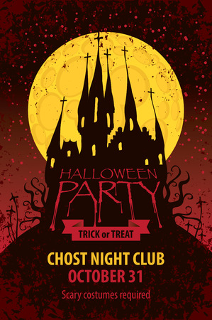 Vector banner for Halloween party with an old Gothic castle in the cemetery on the background of the full moon in grunge style Illustration