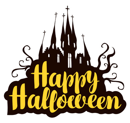 Happy Halloween lettering with old castle