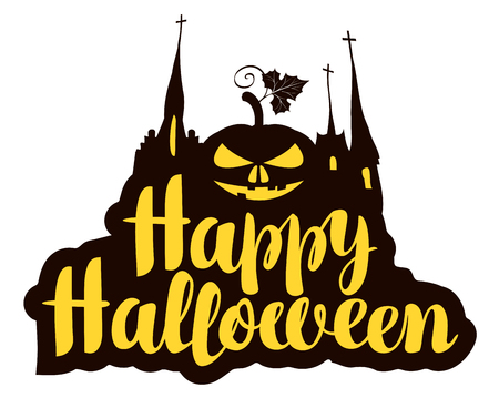 Happy Halloween lettering with pumpkin and gothic castle. Vector calligraphic inscription for banner, poster, greeting card, party invitation. Illustration