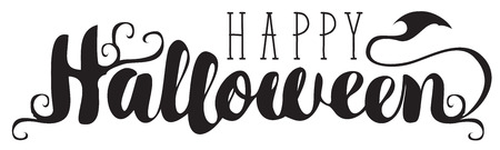 Happy Halloween lettering with curlicues. Vector calligraphic inscription for banner, poster, greeting card, party invitation.