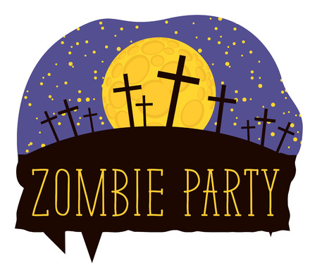 Vector lettering for Zombie party with crosses on the night cemetery on the background of full moon. Halloween inscription for banner, poster, greeting card, party invitation, icon.
