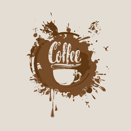 Vector banner with cup of hot coffee and the inscription on the background of coffee stains and splashes Illustration