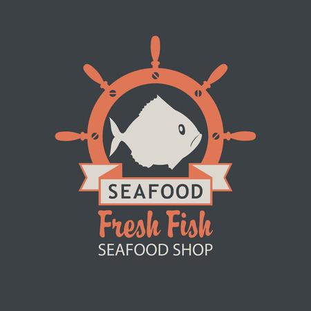 Emblema di vettore o banner per negozio di frutti di mare con un pesce, un timone di nave, pesce fresco iscrizione e parole sullo sfondo scuro in stile retrò. Archivio Fotografico - 87469004