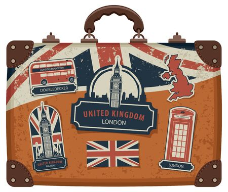 Vector image of travel suitcase with stickers set with British symbols, monuments and flag of the United Kingdom in retro style