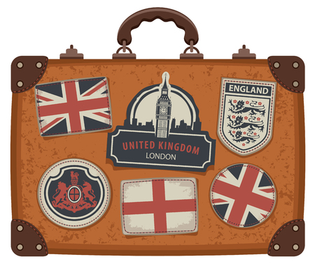 Vector image of travel suitcase with patches set with British and English symbols, coats of arms and flags of the United Kingdom and England in retro style Illustration