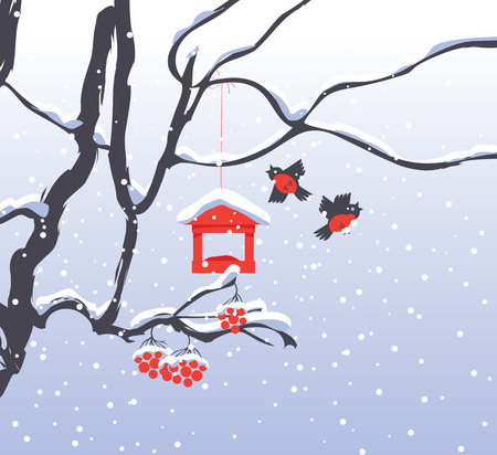 Vector winter landscape with snow-covered branches and red bunches of a Rowan tree, bullfinches and a bird feeder in the snow in flat style Illustration