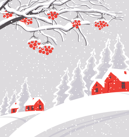 Vector white winter landscape with branches and bunches of rowan tree, with village and red houses on the snowing hill