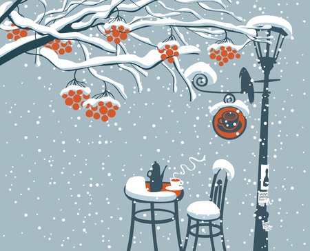 Vector winter landscape with snow-covered branches and red clusters of a rowan tree and open-air cafe with lamppost and crow
