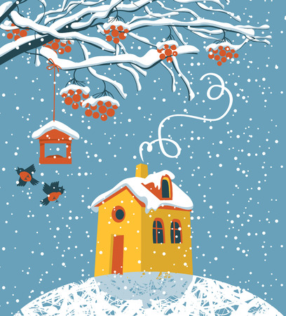 Vector winter landscape with snow-covered branches and red clusters of Rowan, bullfinches and a bird feeder, the yellow house in the snow in flat style Illustration