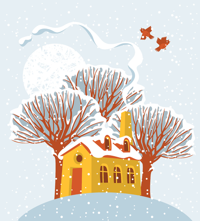 Vector winter landscape with sun and birds, with snow-covered trees and a cheerful yellow house on the hill in flat style Illustration