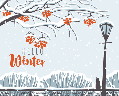 Vector winter scene at the snow-covered park with calligraphic inscription Happy Winter, with branches of a rowan tree, a street lamp and a cat on the fence in the snow Illustration