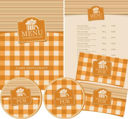 Vecteur série de menu pour pub avec nappe à carreaux, planches de bois et verre de bière. Banque d'images - 88400243