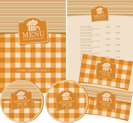 Vector set of menu for pub with checkered tablecloth, wooden planks and glass of beer.