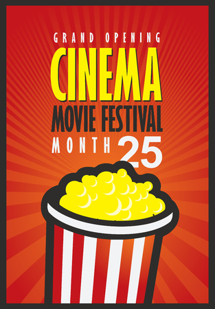movie director: Vector movie festival poster with popcorn bucket on the red background with rays. Cinema snack. Cinema banner with words grand opening. Can used for banner, poster, web page, background