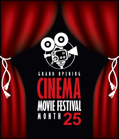 Vector cinema festival poster with Red Curtains and projector lights. Movie background with words cinema movie festival grand opening. Can used for banner, poster, web page, background