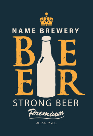 Template vector label for strong beer with a picture of the bottle and crown in retro style