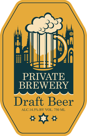 Template vector label for draft beer premium quality produced in the private brewery with overflowing glass of frothy beer on a background of old town in retro style.