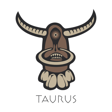 divination: Vector sign of the zodiac. Taurus in the form of funny monster in flat style. Icon for astrological horoscope Illustration