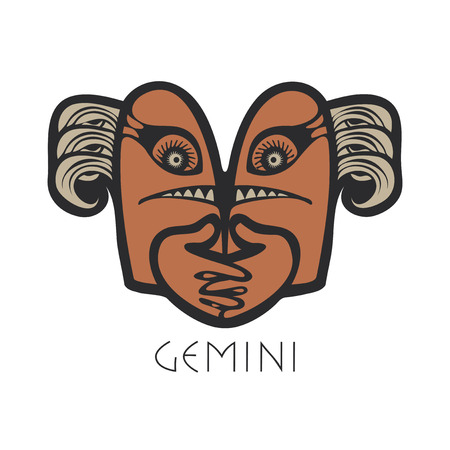 divination: Vector sign of the zodiac. Gemini in the form of funny monsters in flat style. Icon for astrological horoscope