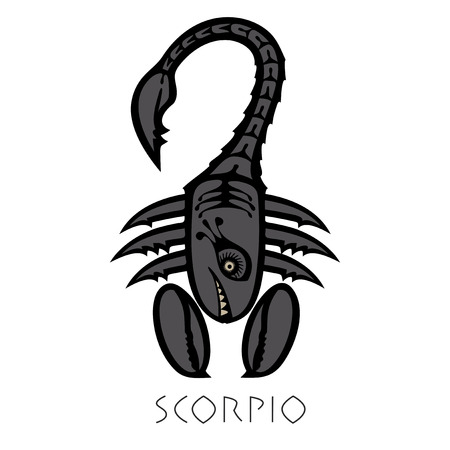 Vector sign of the zodiac. Scorpio in the form of funny monster in flat style. Icon for astrological horoscope