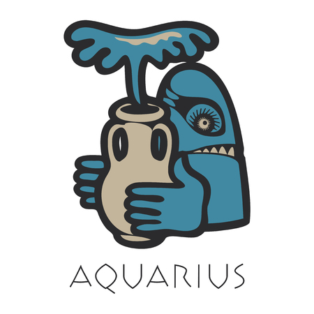 Vector sign of the zodiac. Aquarius in the form of funny monster in flat style. Icon for astrological horoscope
