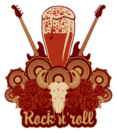 Vector banner for a rock pub with live music with an inscription and a picture of a full glass of beer, bull skull, acoustic guitars, speakers and red roses