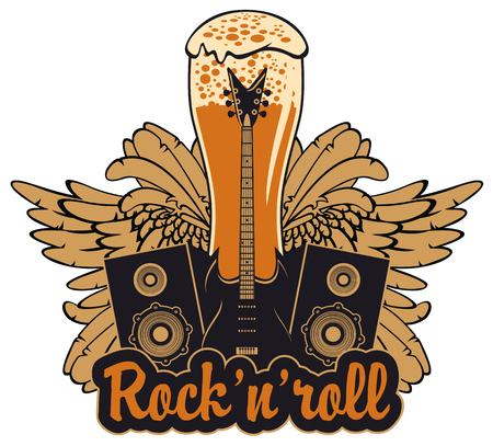 Vector banner for a rock pub with live music with an inscription and a picture of a full glass of beer, bull skull, acoustic guitars, wings and vinyl records in the fire