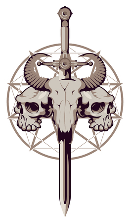 Vector emblem with a skull of a bull pierced by a sword and two human skulls on the background of a pentagram