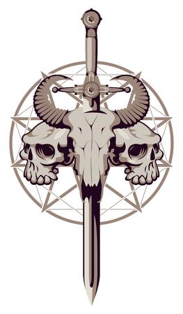 Vector emblema con una calavera de un toro atravesado por una espada y dos cráneos humanos en el fondo de un pentagrama Foto de archivo - 89408512
