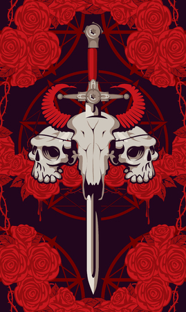 Vector emblem with a skull of a bull pierced by a sword and two human skulls with barbed wire on the background of a pentagram and red roses with drips of blood. Illustration