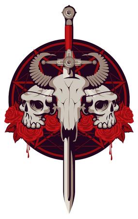 pentagramma musicale: Vector emblema con un cranio di un toro trafitto da una spada e due teschi umani con filo spinato sullo sfondo di un pentagramma e rose rosse con gocce di sangue.
