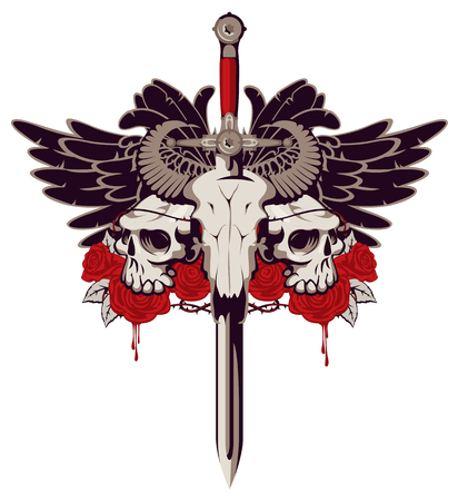 Vector emblem with a skull of a bull pierced by a sword and two human skulls with barbed wire on the background.