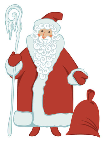 Winter vector illustration on the theme of Merry Christmas and Happy New year. Cartoon Santa Claus with magic staff and gift bag on white background