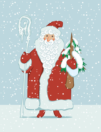 Winter vector illustration on the theme of Merry Christmas and Happy New year. Cartoon Santa Claus with magic staff and Christmas tree on the background of snowfall