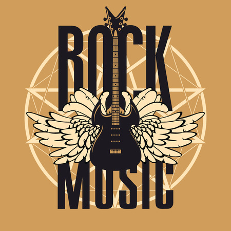 Vector banner or emblem with words Rock music, electric guitar with wings on the background of a pentagram