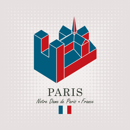 Vector travel banner. Schematic drawing of the notre dame de paris with the inscription and the French flag on abstract background Illustration
