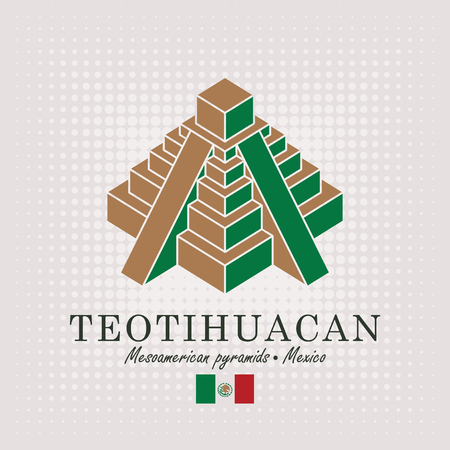 Vector travel banner. Schematic drawing of the mesoamerican pyramids in Mexico with the inscription and the mexican flag on abstract background