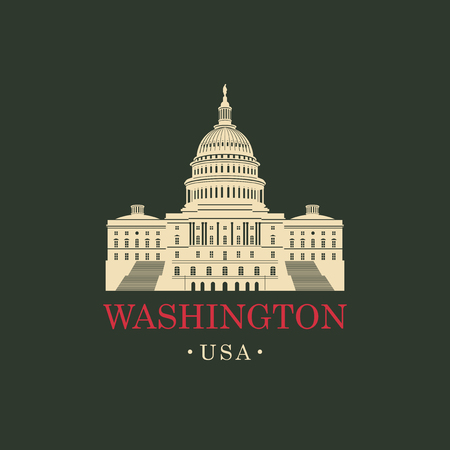 Vector travel banner. US National Capitol in Washington, DC. American landmark. The Western facade of the Capitol.