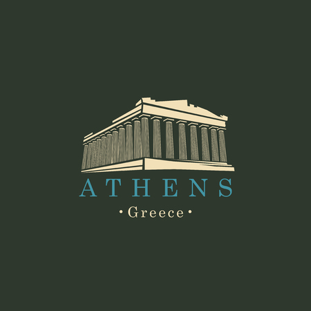 Vector travel banner or logo. Parthenon from Athens, Acropolis, Greece. Greek ancient national landmark in retro style Vettoriali