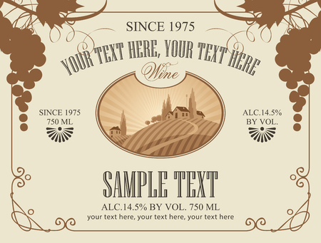 Vector label for wine with landscape of european village and vineyards in a curly frame with bunches of grapes in retro style