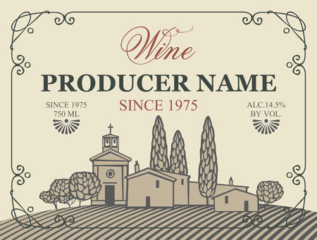 Vector label for bottle of wine with european village with a vineyard in a curly frame in retro style Illustration
