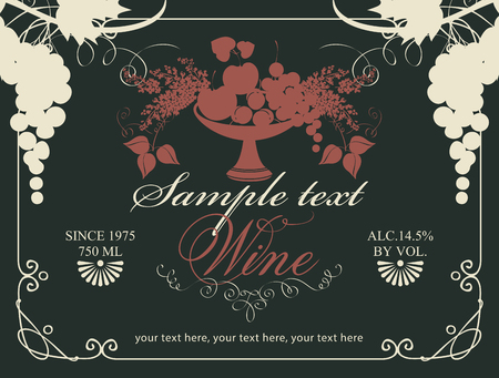 Vector label for wine with bunches of grape and a bowl of fruit, berries and lilac in a curly frame on black background in retro style