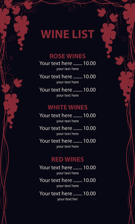 Vector wine list with a price. Menu decorated with Vines and bunches of grapes on black background Çizim